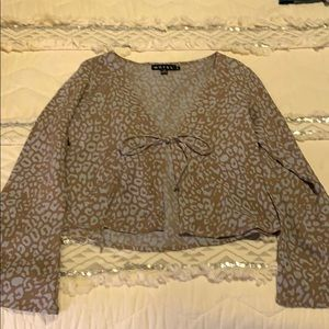 Leopard Tie-Front Long Sleeve Top with Bell Sleves